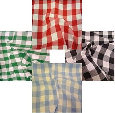 Gingham Poly Cotton Check Table Cloth Cover  Red Orange Green Blue Many Colours