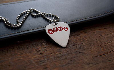 Hand Made Etched Nickel Silver Guitar Pick Necklace - Heart Band