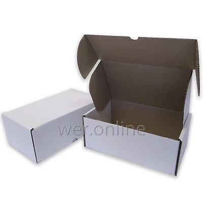 "400 x Large White Diecut Gift Cardboard Cartons 10 x 6 x 4"" SW"