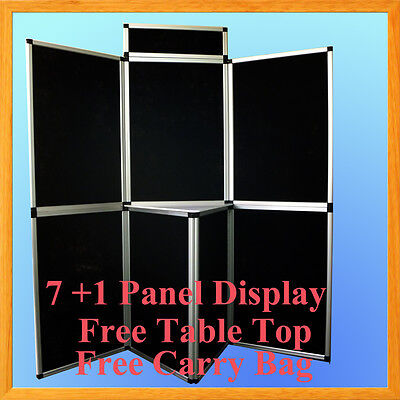 6' 7+1 Velcro Black Panel Header Trade Show Display Presentation Tabletop 6Ft