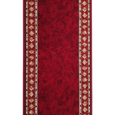 New Hall Rug HALLWAY RUNNER Mat Carpet CHEOPS Rubber Back 67cm Red per metre