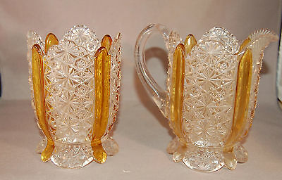"MAGNIFICENT EAPG Amberette  Pressed Glass w/Amber ""Stripe"" Spooner & Creamer!"