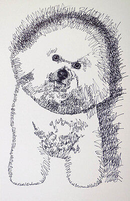 Bichon Frise Dog Art Print #44 Kline will add your dogs name. DRAWING FROM WORDS