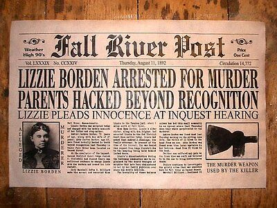 (259) NOVELTY POSTER HALLOWEEN LIZZIE BORDEN ACCUSED OF MURDER FALL RIVER 11x17""