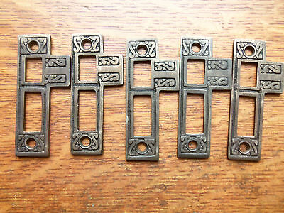 Five New Fancy Cast Brass Door Jamb Strike Plates - Antiqued