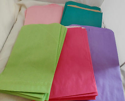 100 6x9 Hot Pink, Lime, Purple, and Pastel Pink Paper Colored Bags, 4 colors!