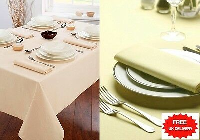 Pure Cotton / Satin Table Cloth Cover / Napkins Linen Set - Custom Sizes