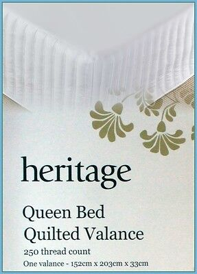 Special Sale Myer 250TC Heritage Queen Bed Quilted Valance Bedskirt - White
