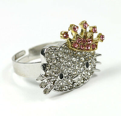 New Hello Kitty  Silver Fashion Pink Bow Princess Crown Crystal Rhinestone Ring
