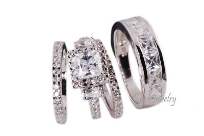 4Pcs His & Hers Halo Princess Diamond Cut Wedding Ring Set Sterling Silver 4-13