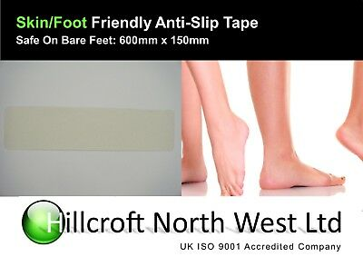 Self Adhesive Anti Slip Stair Tread  Perfect for wet areas 600mm x 150mm Clear