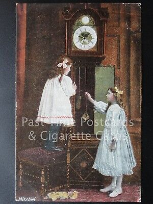 Old PC, 'Mischief' Children playing with Grand Father Clock by J.W.B. Series 301