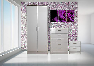 Bedroom Furniture Set Wardrobe Chest Bedside High Gloss White/White Oak Frame
