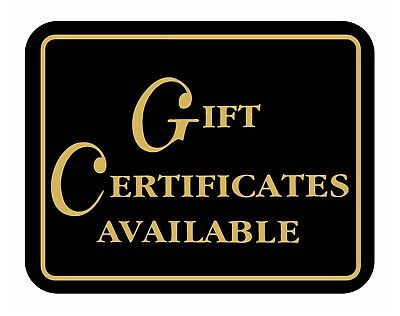 Gift Certificates Available Retail Store Business Sale Sign