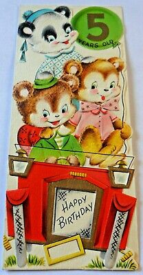Vintage Birthday Card Teddy Bears For A 5 Year Old Boy Girl Made In USA