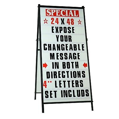 """A Frame Sidewalk Changeable Letters Message Sign with 4"""" Letters set - 24""""x 48"""""""