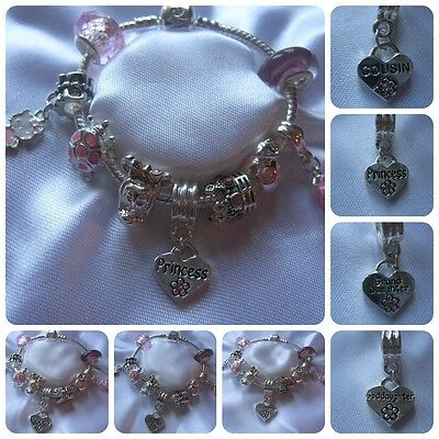 Childrens Charm Bracelet Princess Granddaughter Cousin Goddaughter Personalized