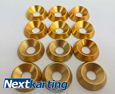 Kart Set of 12 x M6 Gold Alloy CSK Washers - The Best Quality - NextKarting -