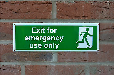 Exit For Emergency Use Only Fire Property Sticker Plastic Drilled Sign 100x300mm