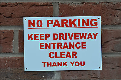 No Parking Keep Driveway Entrance Clear Thank You A5 Plastic Sign Or Sticker