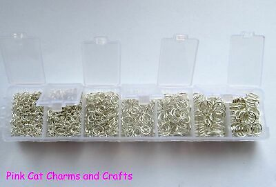 Silver Plated JUMP RINGS & STORAGE BOX 1500pcs 3mm - 8mm Jewellery Findings