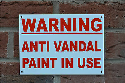 Warning Anti Vandal Paint In Use Property Security Safety Sign Sticker Holed A5