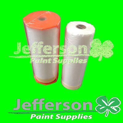 Two Rolls Hand Masking Film Plastic With Dispenser  Masker And Backup Roll