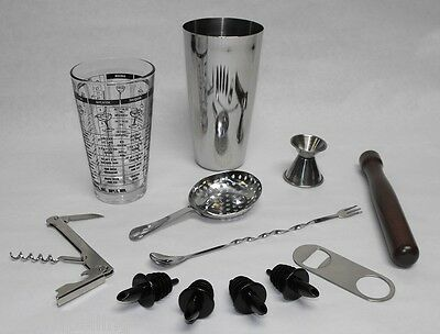 12pc BOSTON SHAKER BAR KIT Tin Glass Spoon Jigger Muddler Strainer Opener Pourer