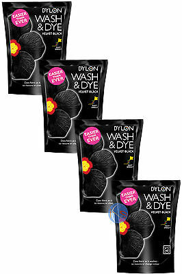 4 x 350g VELVET BLACK DYLON WASH & DYE FABRIC CLOTHES DYE. UK SELLER.