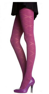 Opaque PRETTY POLLY Raspberry Tights.. Diamond Pattern.. One Size- Womens Girls