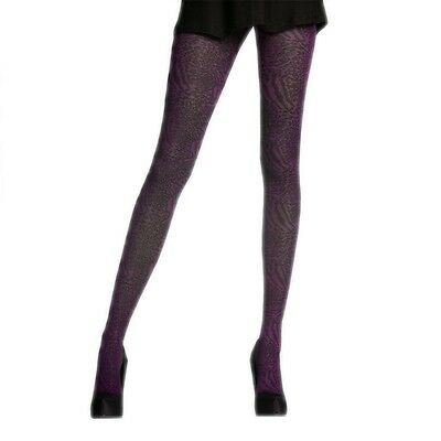 Opaque Pretty Polly Animal TIGHTS... GRAPE WITH BLACK.. One Size.. Womens Girls