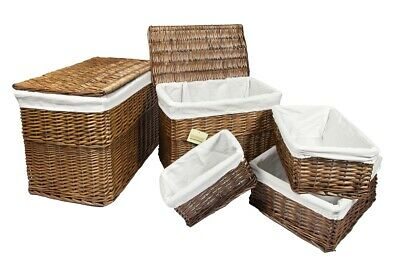 Brown Wicker Wht Linning Linen Laundry Basket /Bin Storage Trunk Hamper Basket