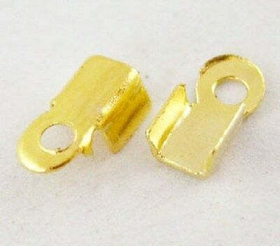 500 Cord End Crimp Caps Bail Tips 6mm x 3mm Gold Tone