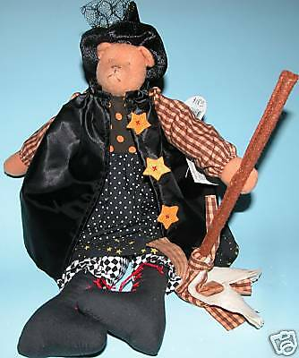 """Russ Berrie Halloween bear witch """"Spellbound"""" #100782 plush new with broom & hat"""
