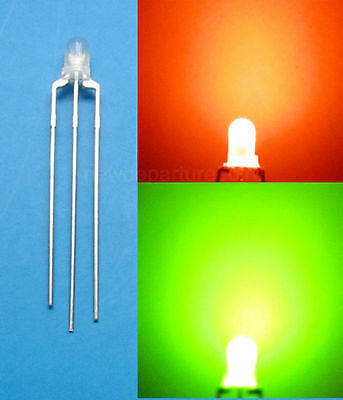 20Pcs 3mm Dual Bi-Color Red/Green diffused 3 Pin LED Common Anode