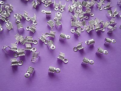 100 x  Plated Metal Fold Over End Crimps / Silver colour / NICKEL FREE / B3GOF!