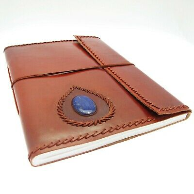 Fair Trade Handmade Stitched Stoned XL Leather Photo Album Scrapbook Sketchbook