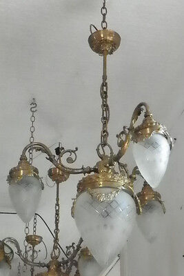 Large Cast Brass 3 Arm & Center Drop Chandelier W/ Cut Glass Bullet Shades 13503