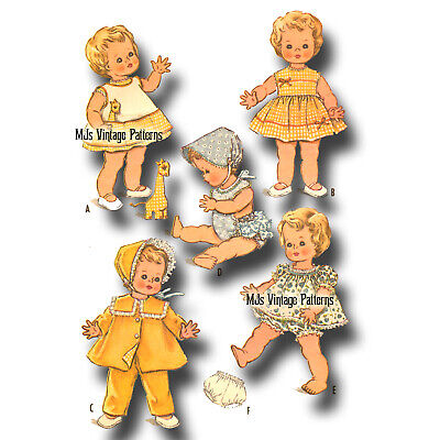 """Vtg 1960s Baby Doll Dress Clothes Pattern  ~ 22"""" Kissy, Betsy Wetsy, Toodles"""
