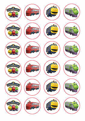 24 assorted Chuggington 4cm round cupcake edible images toppers