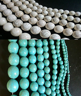 Loose Turquoise & White Howlite Gemstone Beads size 4mm to 22mm Craft Jewellery