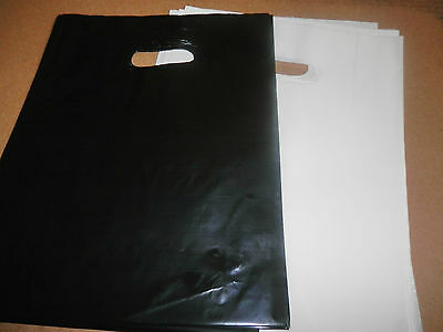 "100 9"" x 12"" WHITE GLOSSY and GLOSSY BLACK Low-Density Plastic Merchandise Bags"