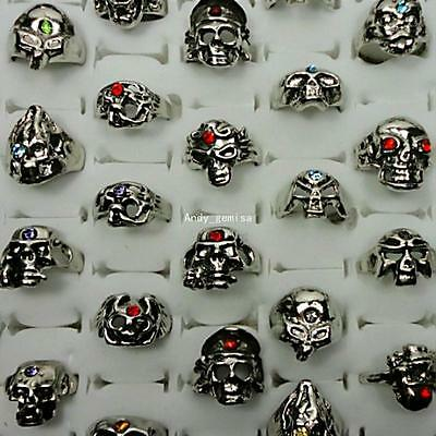 4pcs Alloy Skull Rhinestone Rings Ancient Silver Wholesale Jewelry