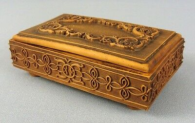 Antique Deep Floral Art Carved Brown Wood Treen Footed Lined Jewelry Trinket Box