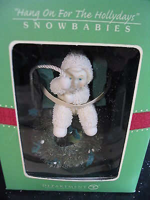 Dept 56 Snowbabies Ornament HANG ON FOR THE HOLIDAYS MIB