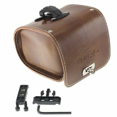 Vintage Fixie Road Bike Bicycle Leather Saddle Bag with Cleats