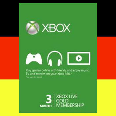 Xbox One 360 Live Gold 3 Monate Mitgliedschaft Karte 3 Month Card Code Per Email