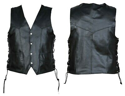 Motorcycle Leather Vest Chopper Biker Rider with Waist Lace Adjuster Black