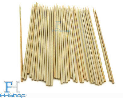 "200 6"" 7"" 8"" 10"" Wooden Bamboo Skewers Chocolate Fountain BBQ Fruit Kebab Sticks"