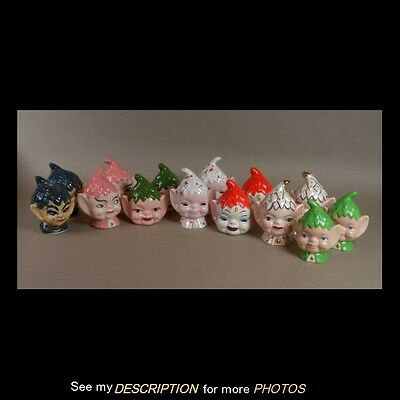 Vintage Pixie Salt & Pepper Shaker Collection 7 Pairs